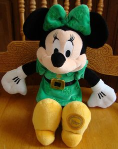 """Walt #Disney Store Plush Minnie Mouse With St Patrick's Day Green Shamrocks 14"""" from $14.99"""