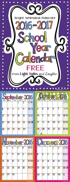 For my friends who plan WAY ahead!! FREE bright, polka-dot calendar that's editable in Power Point, or print the PDF version.
