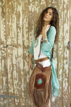 Myee Carlyle Enchanted Forest Kimono and Buffalo Girl Bag | See more about Girls…