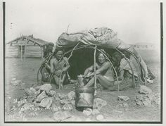 Sweat lodge, covering raised. Sioux, 1898
