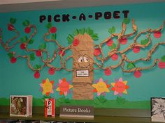 "April is national poetry month and to celebrate, consider spicing up your writing center or classroom library with this cute ""poet-tree"" from the librarians of Algona-Pacific Library in Washington. While the original board depicted an orchard tree and apples scripted with famous poets, you can certainly tweak the board to fit your classroom needs. Here are a few ideas: