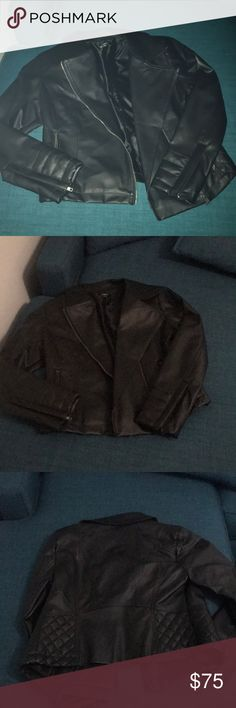 Express black Leather jacket Cute black leather jacket. Has zippers and cool stitch design. Silk lined and perfect to dress up or down! Express Jackets & Coats