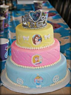 Disney Princess Cake for my daughters 2nd birthday inspired by other pins.: