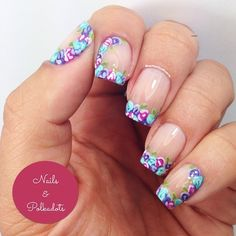 Flower French Nails by Instagrammer @nailsandpolkadots