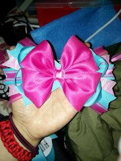 Hair bow pink blue