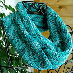 Turquoise Infinity Scarf Crocheted Loop or Circle Scarf by Cozy