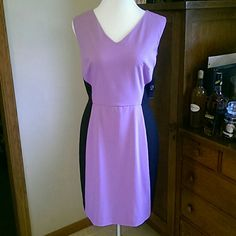"""Contoured Sheath Deep lilac and black sheath dress. Fully lined, back zip, poly/viscose blend. NWT, back vent still sewn shut. Perfect condition. 37"""" total length. New York & Company Dresses"""
