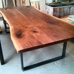 Live edge walnut dining / conference table - 4 ft by 8.5 ft - available at barnboardstore.com