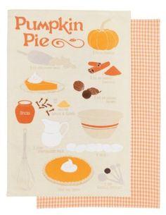 Amazon.com: Now Designs Pumpkin Pie Teatowel, Set of 2: Home & Kitchen