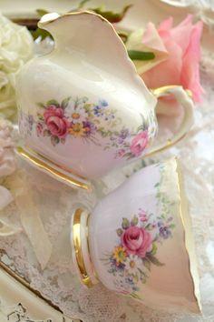 Vintage rose print jug and sugar bowl