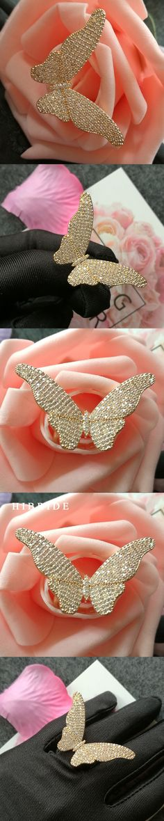 HIBRIDE Luxury Big Butterfly Adjustable Women Rings Micro CZ Stone Pave Gold-Color Female Ring For Party Gifts Jewelry R-146