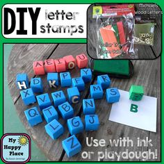 DIY letter stamps - great for playdough or ink! (just an image)