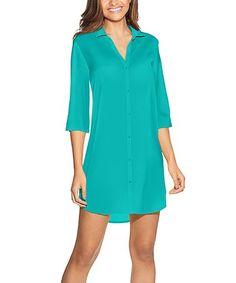 Tile Blue Button-Up Night Gown  zulilyfinds ee8f91826