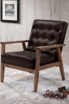 Sorrento Mid-Century Retro Modern Brown Faux Leather Upholstered Wooden Lounge Chair on @HauteLook