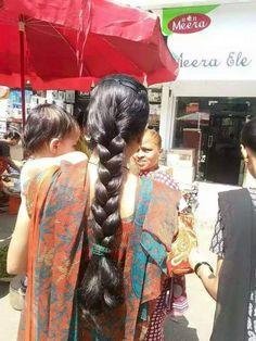 Big Bun, Beautiful Braids, Long Braids, Bun Hairstyles, Cute Girls, Sari, Long Hair Styles, Hot, Beauty