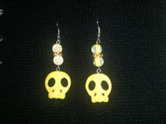 Yellow Skull Earrings by NocturnalFashions on Etsy, $7.00