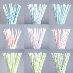 25pcs Light Color Paper Straws