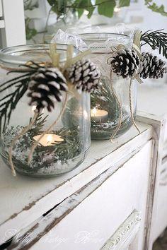Winter Pinecone Candles & other DIY Winter Decor to DIY. http://www.thecreativityexchange.com/2016/11/beautiful-easy-diy-christmas-decor-ideas.html?utm_source=feedblitz&utm_medium=FeedBlitzRss&utm_campaign=thecreativityexchange