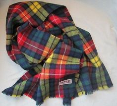 Vintage Cisco All Wool Scarf Scottish Clan Buchanan Modern Tartan Scotland Plaid