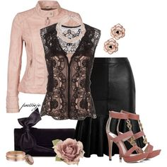 """Black Ink and Pink"" by rockreborn on Polyvore"