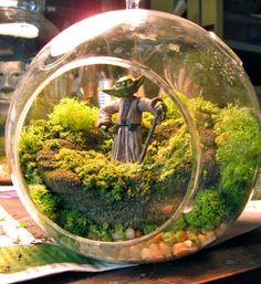 Yoda Terrarium - Hanging Moss Zen Garden - Star Wars / Empire Strikes Back, via Etsy.