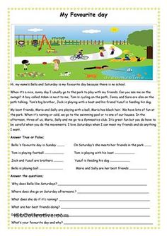 A short, easy reading comprehension text for beginners with some questions. can be used with the theme of free time or sports. Students can also try to identify the kids in the picture. hope it's useful - ESL worksheets