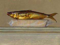 "Jeffrey T. Larson, ""Fish on crackers"", oil"