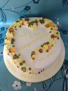 Hearts and flowers for a golden wedding anniversary