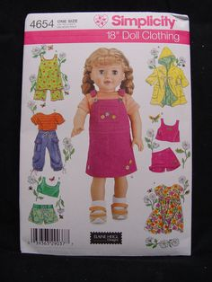 "NEW Simplicity 4654 ~ 18"" Doll Clothes Pattern for 18 inch dolls Summer Fashions #Simplicity"