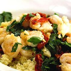 Sauted Shrimp And Tomatoes With Lemon Couscous Recipe main-dish, sides, low fat, nut free, iftar, memorial day, dinner, arab, greek, mediterranean, middle-eastern with 8 ingredients