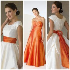White and orange wedding dresses – Fashion and trend ideas. Where and how to buy a White and orange wedding dresses? Wedding Dress Cake, Wedding Sash, Black Wedding Dresses, Casual Wedding, Wedding Suits, Wedding Gowns, Car Wedding, White Fashion, Colorful Fashion