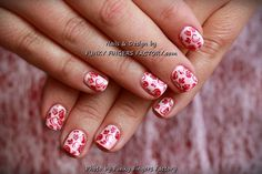 Gelish Vintage Roses and Polka Dots nails by www.funkyfingersfactory.com