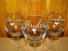 Personalized Bridesmaids Gifts and Bride Gifts - Wine Glasses by MaggiesCraftTime, $15.00