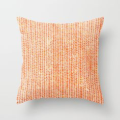 Home Decor Gifts, Stockinette Orange Minimalist Art Pattern on Throw Pillows & Decorative Patio Pillows by Elisa Sandoval & printed by Orange Throw Pillows, Pillow Fight, Pillow Talk, Stockinette, My New Room, Down Pillows, Couch Pillows, Pillow Shams, Yellow