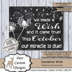 Dandelion Wish Chalkboard Pregnancy Announcement Photo Prop Pregnancy Announcement Photos, Pregnancy Signs, Pregnancy Workout, Baby Announcements, Chalkboard Pregnancy Announcements, Baby Reveal Photos, Healthy Pregnancy Tips, Baby Due, Miracle Baby