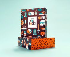The cardboard box was designed with several flat illustrations that convey a playful touch.