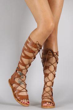 Strappy Lace Up Gladiator Flat Sandal