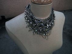 DIY-Tom-Binns-rhinestone-chains-pearl-chunky-choker-collar-necklace-11 by ...love Maegan, via Flickr