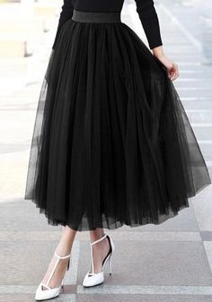 e7d320d456 DaysCloth Black Grenadine Fluffy Puffy Tulle Plus Size Homecoming Party  Cute Sweet Skirt Tulle Skirts,