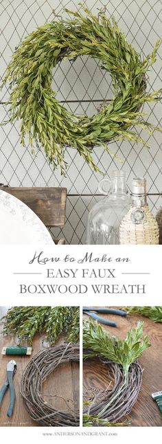 Create your own beautiful boxwood wreath for under $15! Easy DIY Tutorial at http://www.andersonandgrant.com #wreath #DIY #decorate
