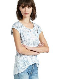 Lucky Brand - M - NWT - Blue Tie Dye on Tribal Geometric Burnout Slub Knit Tee #LuckyBrand #KnitTop #Casual