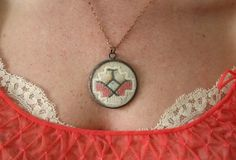 Victorian Lace Necklace Set in Between 2 Vintage Watch Crystals ======> $40.00
