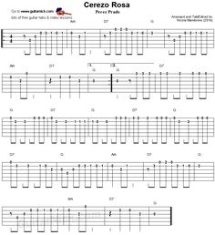 Guitar lesson with free tablature, video tutorial, chords and backing track. Cerezo Rosa by Perez Prado. Ukulele Chords, Guitar Tabs, Music Lessons, Guitar Lessons, Fingerstyle Guitar, Guitar Scales, Backing Tracks, Easy Guitar, Sheet Music