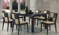 "Beautiful Solid Wood Dining Table and 6 Pu Seat & Back Side Chairs in Espresso Finish #AD 91900,91902 by HP. $1199.99. Solid Wood Dining Table. 6 Pu Seat & Back Side Chairs. chair:18 1/4""Wx22 3/4""Dx33 1/2""H. Espresso Finish. table:64""Lx40""Wx30""H. some assembly maybe required."