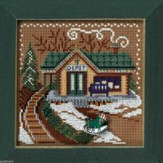 Train Depot Cross Stitch Kit Mill Hill 2006 Buttons & Beads Winter