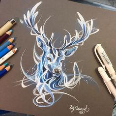 Stag Patronus by Katy Lipscomb. Ps that should totally become.the baratheon's symbol if they're not all dead