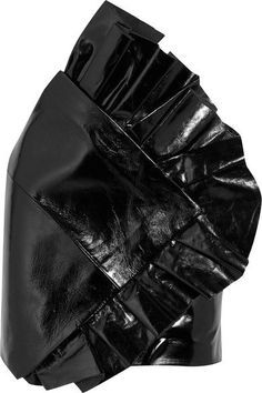 Ruffled glossed textured-leather mini skirt YSL Saint Laurent