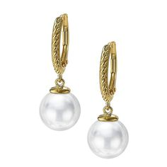 Pearl Twisted Rope 18K Gold Plated Lever Back Earring | JOIA De Majorca