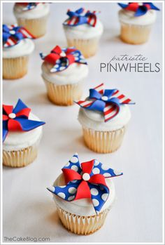 Party - 4th of July and Patriotic Holidays - DIY Fondant Pinwheel Cupcakes (via the Cake Blog)