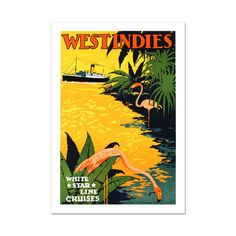 White Star Lines/West Indies // Hand-Pulled Lithograph